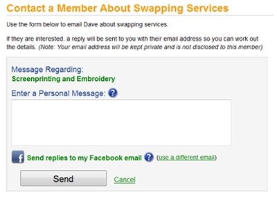 Contact member about bartering and swapping